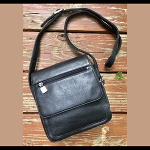 St. John's Bay Black Pebbled Leather Crossbody Bag